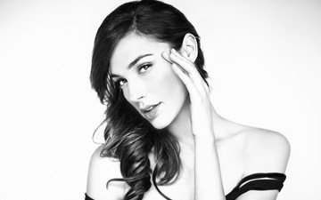girl, look, black and white, model, hair, face, actress, gal gadot