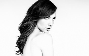 brunette, look, black and white, model, actress, white background, makeup, hairstyle, gal gadot