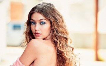 girl, look, model, hair, face, gigi hadid, bare shoulder, style.