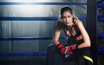girl, look, model, hair, face, photoshoot, sports wear, reebok, training, gigi hadid