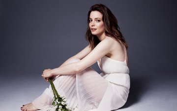 flowers, girl, look, hair, face, white dress, celebrity, gillian jacobs