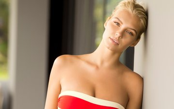 girl, blonde, look, model, hair, face, neckline, bare shoulders, gintare sudziute