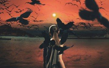 природа, закат, девушка, модель, птицы, стая