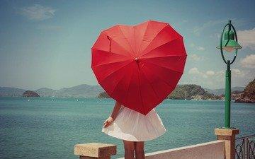 небо, река, девушка, настроение, платье, мост, сердце, фонарь, зонт, зонтик