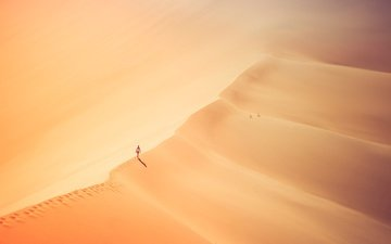 girl, sand, desert, loneliness, traces, sunlight