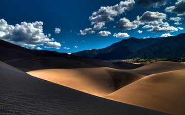 the sky, light, clouds, sand, desert, dunes