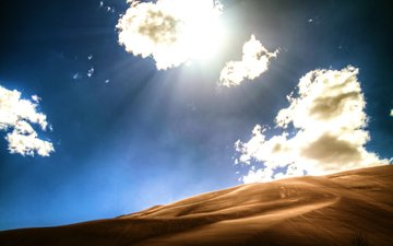the sky, clouds, sand, desert, dunes, colorado, sunlight