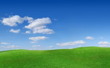 the sky, grass, clouds, hills, field, horizon