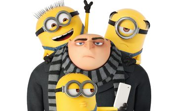 glasses, cartoon, white background, minions, gru, despicable me 3