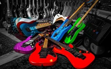 music, colorful, strings, guitar, musical instrument