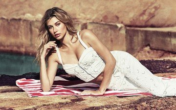 girl, look, model, face, long hair, neckline, hailey baldwin