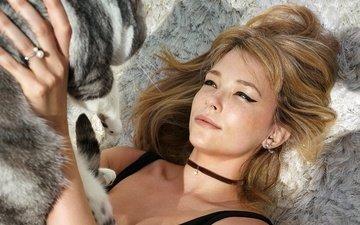 девушка, кот, кошка, взгляд, волосы, лицо, актриса, хейли бе́ннетт, haley bennett