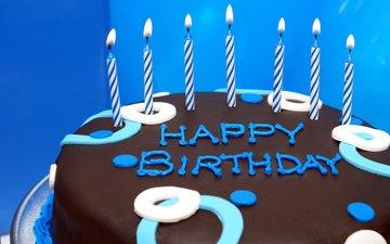 свечи, шоколад, сладкое, день рождения, торт, десерт, глазурь