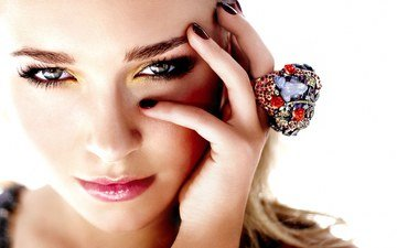 рука, девушка, портрет, взгляд, кольцо, губы, хайден панеттьер, актриса, макияж