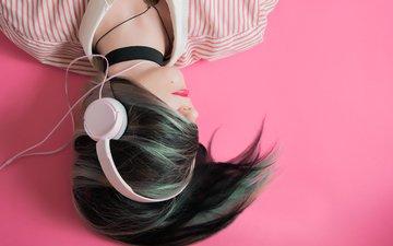 девушка, музыка, наушники, модель, волосы, лицо
