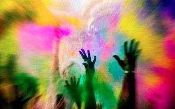 люди, краски, цвет, руки, холи, фестиваль