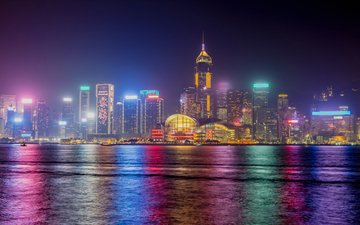 night, lights, horizon, the city, coast, home, china, hong kong