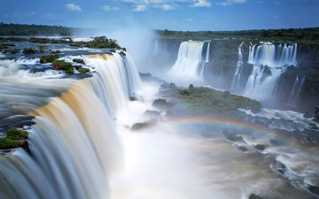 небо, река, природа, водопад, радуга, аргентина, игуасу