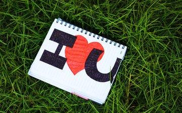 трава, надпись, сердце, любовь, блокнот