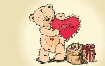 figure, bear, heart, gift, valentine's day, love