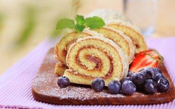 мята, доска, клубника, ягоды, черника, сладкое, выпечка, рулет