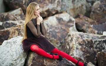 stones, girl, dress, blonde, red, tights, model, profile, sitting, shoes, long hair, bokeh