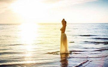 вода, девушка, море, поза, модель, наталия жмерик