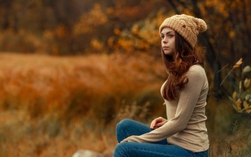 grass, trees, girl, autumn, glade, jeans, jacket, hat, hairstyle, nature, bokeh, redhead