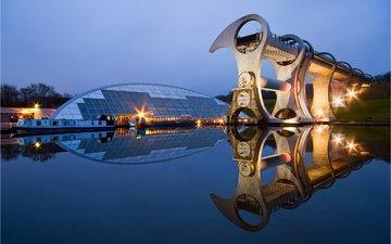 reflection, scotland, falkirk wheel