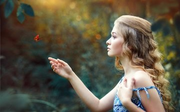 nature, girl, dress, summer, butterfly, hairstyle, curls, rus, renat fotov