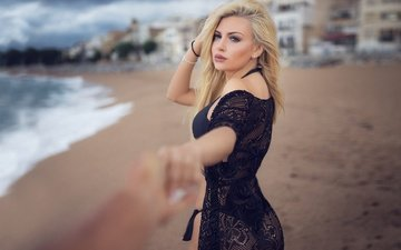 sea, dress, blonde, beach, coast, makeup, swimsuit, in black, bokeh, montse roura