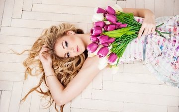 flowers, dress, pose, blonde, lies, bouquet, tulips, makeup, flooring, on the floor