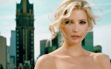 девушка, блондинка, взгляд, модель, лицо, голые плечи, иванка трамп