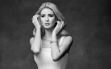 girl, look, black and white, model, hair, face, ivanka trump