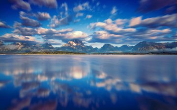 the sky, clouds, water, mountains, reflection, usa, national park, grand teton, wyoming, lake jackson