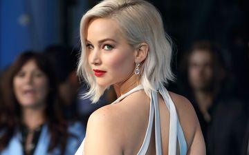 girl, blonde, look, face, actress, earrings, red lips, jennifer lawrence, bare shoulders