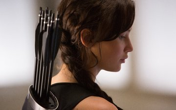 girl, profile, face, actress, braid, arrows, katniss everdeen, the hunger games, jennifer lawrence