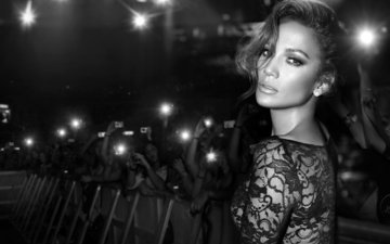girl, look, black and white, hair, face, actress, singer, jennifer lopez