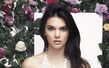 цветы, девушка, портрет, брюнетка, розы, взгляд, модель, волосы, лицо, макияж, кендалл дженнер