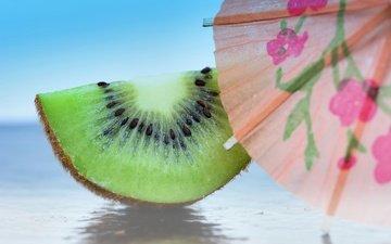 макро, фрукты, киви, зонтик, долка