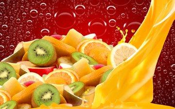 капли, фрукты, яблоки, апельсины, пузыри, дольки, киви, цитрусы, сок
