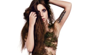 девушка, взгляд, мох, волосы, лицо, певица, татуировка, знаменитость, леди гага