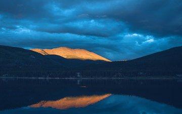 небо, облака, озеро, горы, холмы, отражение