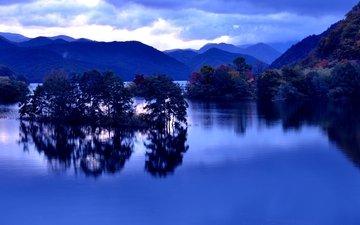небо, облака, деревья, озеро, горы, отражение, япония, фукусима, озеро акимото