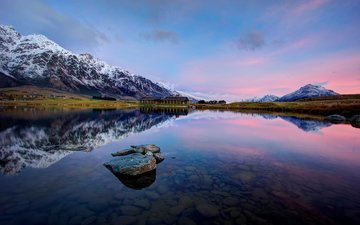 the sky, lake, mountains, stones, reflection, new zealand, queenstown, jacks point, lake wakatipu