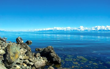 clouds, water, lake, stones, russia, transparent, baikal, siberia