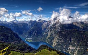 небо, облака, деревья, озеро, горы, зелень, германия, альпы, бавария, озеро кёнигзее