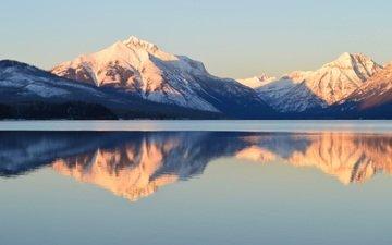озеро, горы, отражение, национальный парк глейшер, lake mcdonald