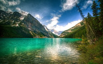 небо, озеро, горы, природа, пейзаж, канада, банф, луиз
