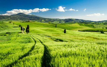 the sky, grass, clouds, hills, landscape, field, italy, tuscany